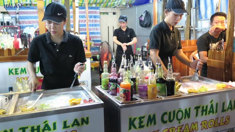 máy làm kem cuộn Thái Lan